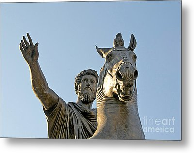 Statue Of Marcus Aurelius On Capitoline Hill Rome Lazio Italy Metal Print by Bernard Jaubert