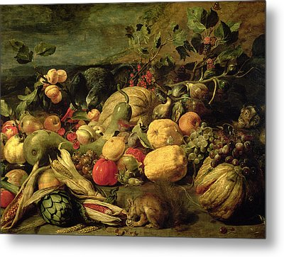 Still Life Of Fruits And Vegetables Metal Print by Frans Snyders