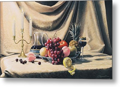 Still Life On A Gold Metal Print by Oleg Bylgakov