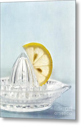 Still Life With A Half Slice Of Lemon Metal Print by Priska Wettstein
