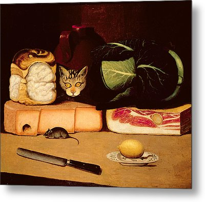 Still Life With Cat And Mouse Metal Print by Anonymous