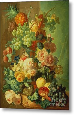 Still Life With Fruit And Flowers Metal Print by Jan van Os