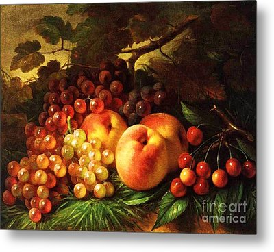 Still Life With Peaches Metal Print by Pg Reproductions