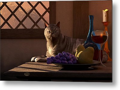 Still Life With Wine Fruit And Cat  Metal Print by Daniel Eskridge