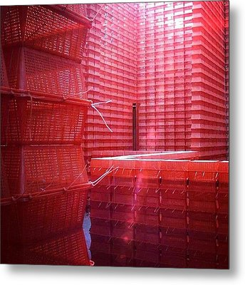 Stimulus Package..#red #crates Metal Print by A Rey