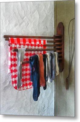 Stockings Hanging To Dry Metal Print by Susan Savad