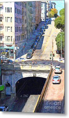 Stockton Street Tunnel Midday Late Summer In San Francisco Metal Print by Wingsdomain Art and Photography