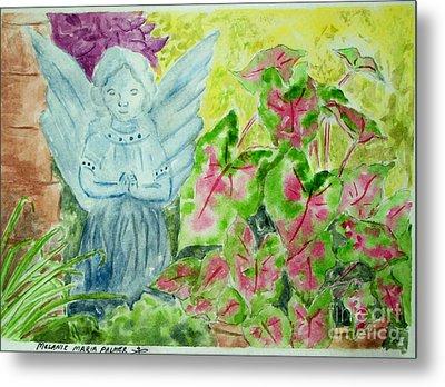 Stone Angel And Caladiums Metal Print by Melanie Palmer