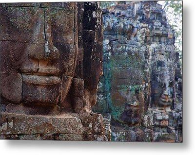 Stone Heads At Bayon Temple Metal Print by Carson Ganci