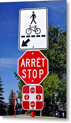 Stop And Crossing Signs. Metal Print by Fernando Barozza