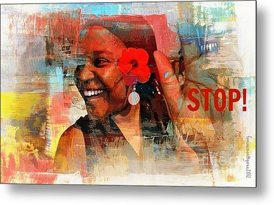 Stop Metal Print by Fania Simon
