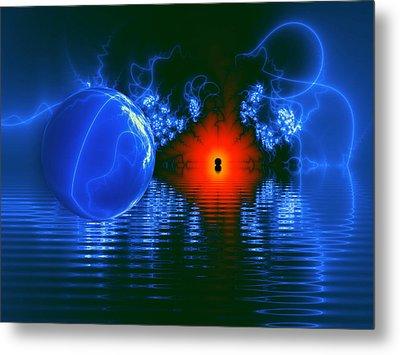 Strange Lights On The Lake Metal Print by Pam Blackstone