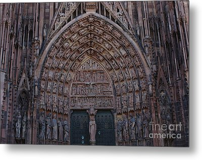 Strasbourg Cathedral Entranceway Metal Print by Bob Christopher