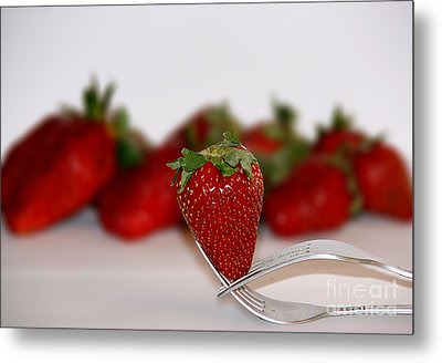 Strawberry On Spoon Metal Print by Soultana Koleska