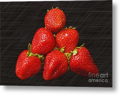 Strawberry Pyramid On Black Metal Print by Andee Design