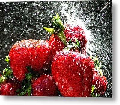 Strawberry Splatter Metal Print by Colin J Williams Photography