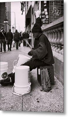 Street Drummer Metal Print by Peter Chilelli