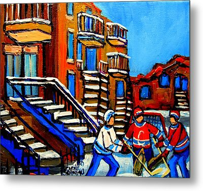 Street Hockey Near Staircases Montreal Winter Scene Metal Print by Carole Spandau