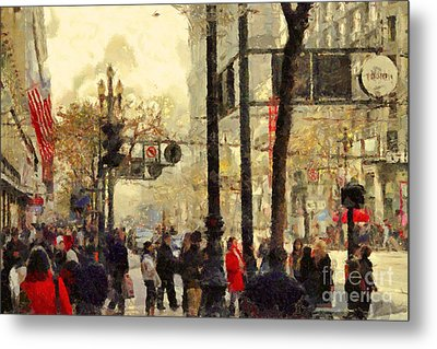 Street Scene At Market Street In San Francisco California . 7d4268 Metal Print by Wingsdomain Art and Photography