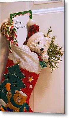Stuffed Christmas Stocking Metal Print by Carson Ganci