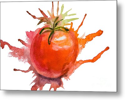 Stylized Illustration Of Tomato Metal Print by Regina Jershova