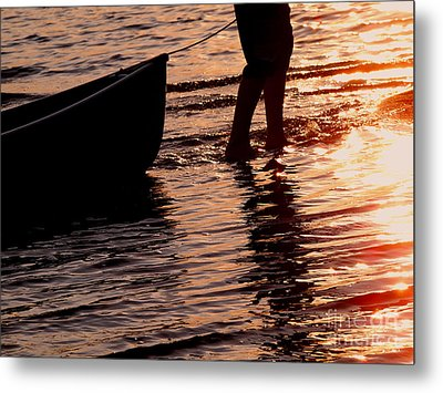 Summer Days - Canoeing At Sunset Metal Print by Angie Rea