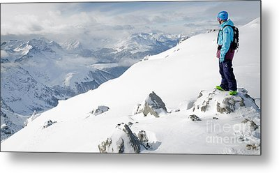 Summit Snowboarder Planning The Descent From Weissfluhgipfel Davos  Metal Print by Andy Smy