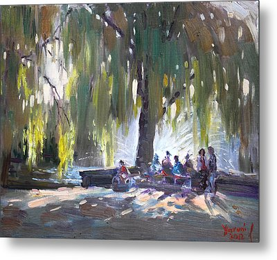 Sunday Afternoon By The Fontain Metal Print by Ylli Haruni