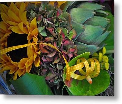 Sunflower And Thistle  Metal Print by Mary Machare