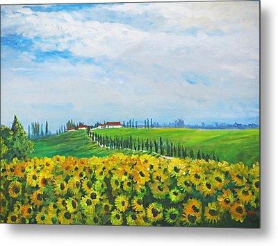 Sunflowers In Chianti Metal Print by Heidi Patricio-Nadon