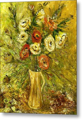 Sunny Flowers In Yellow Vase Metal Print by Rachel Hershkovitz