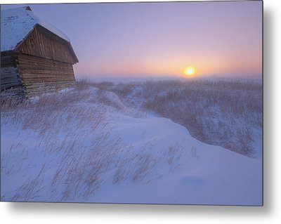 Sunrise On Abandoned, Snow-covered Metal Print by Dan Jurak
