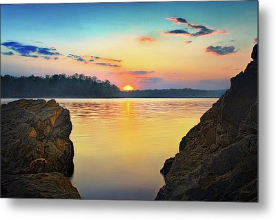 Sunset Between The Rocky Shore Metal Print by Steven Llorca