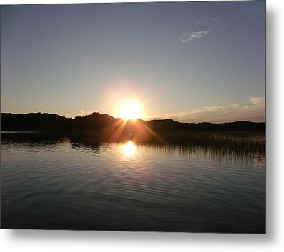 Sunset Glass At The Lake Metal Print by Brian  Maloney