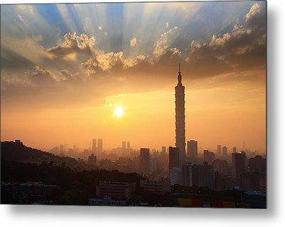 Sunset In Metropolitan Metal Print by Jhhuang