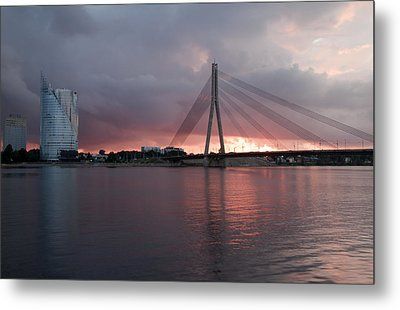 Sunset In Riga Metal Print by Claudia Fernandes