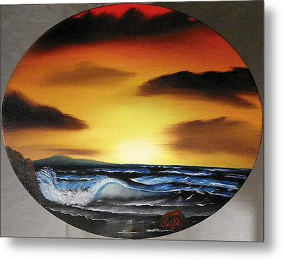 Sunset On The Seashore Metal Print by Amity Traylor