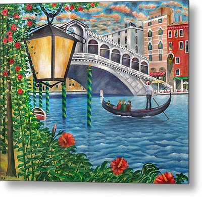 Sunset Over The Grand Canal Metal Print by Ronald Haber