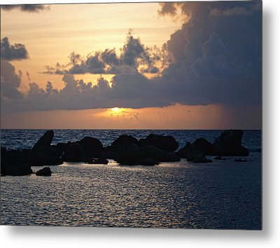Sunset Over The Ocean Metal Print by Philip G