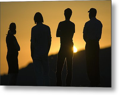 Sunset Silhouette Over Corral Canyon Metal Print by Rich Reid
