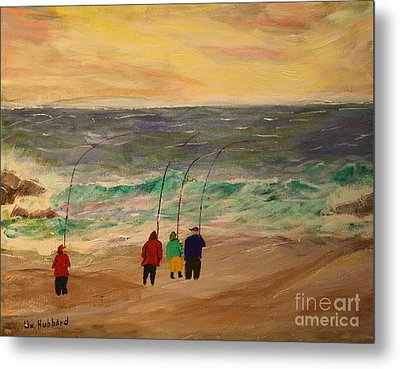 Surfcasters At Sunrise Metal Print by Bill Hubbard