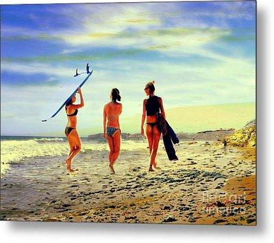 Surfer Girls  Metal Print by Kevin Moore