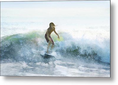 Surfer On A Morning Wave Metal Print by Francesa Miller