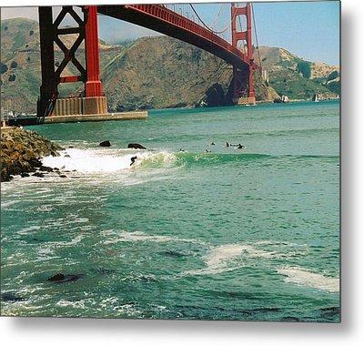 Surfing The Golden Gate Metal Print by Rhonda Jackson
