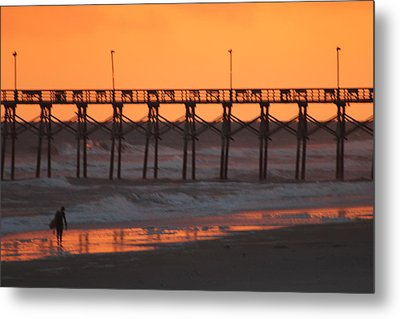 Surfs Walking Metal Print by Static Studios