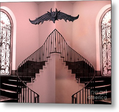 Surreal Fantasy Gothic Gargoyle Over Staircase Metal Print by Kathy Fornal