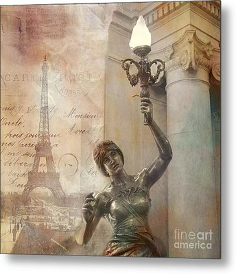 Surreal Fantasy Sepia Eiffel Tower And Street Lamp Metal Print by Kathy Fornal