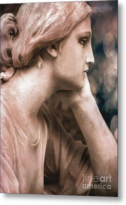 Surreal Female Face Dreamy Contemplation  Metal Print by Kathy Fornal