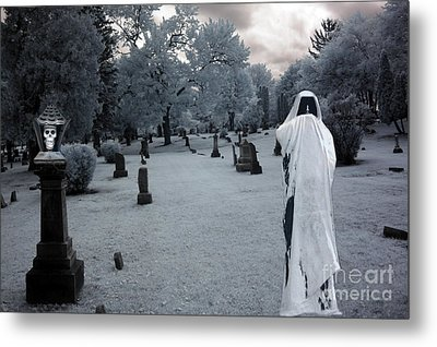Surreal Gothic Spooky Grim Reaper And Skull Metal Print by Kathy Fornal