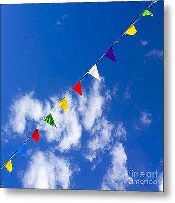 Suspended Festive Flags. Metal Print by Bernard Jaubert